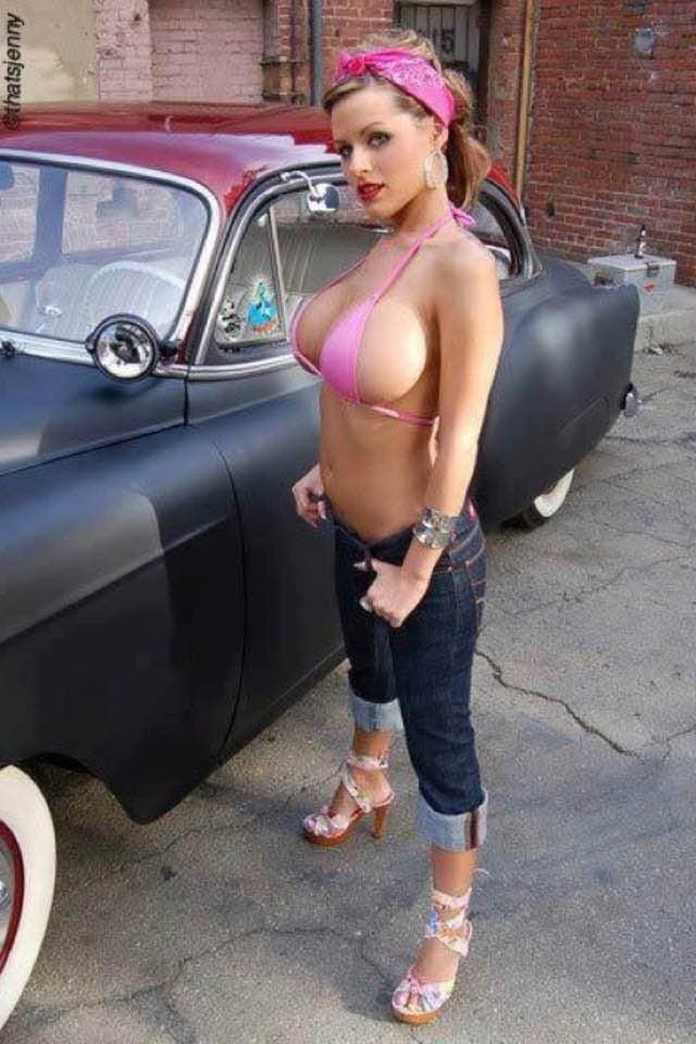 Sexy hot rod tits, domina trains slave cock