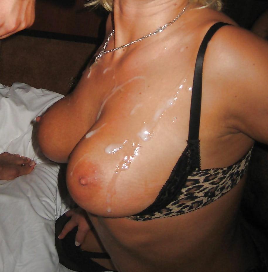 Cum on wife tits