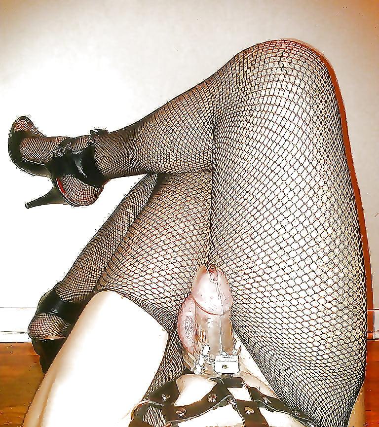 Cuckold sissy in chastity sheer panties
