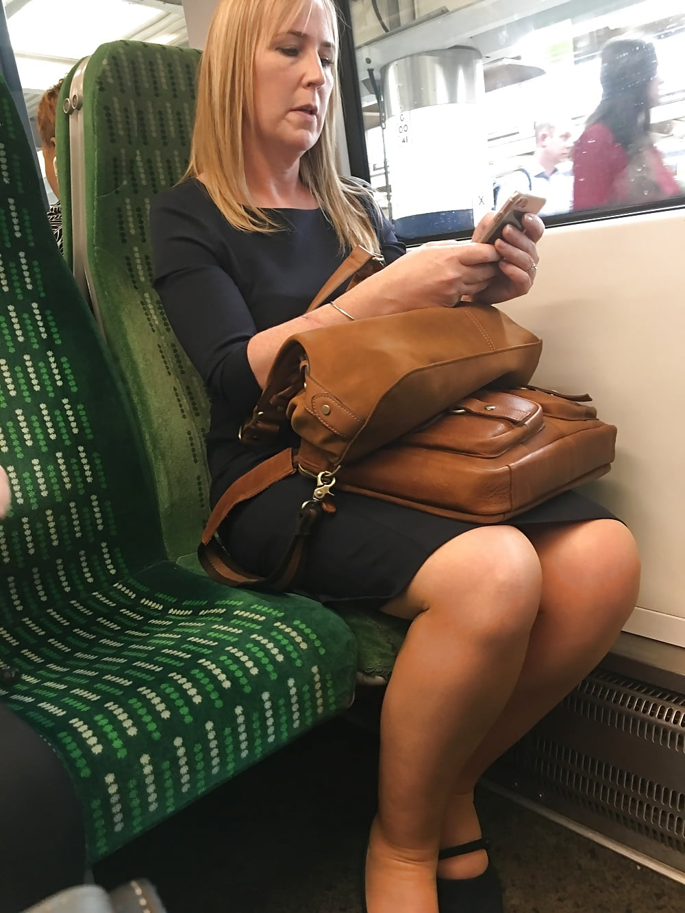 Pretty woman stripped naked on the train