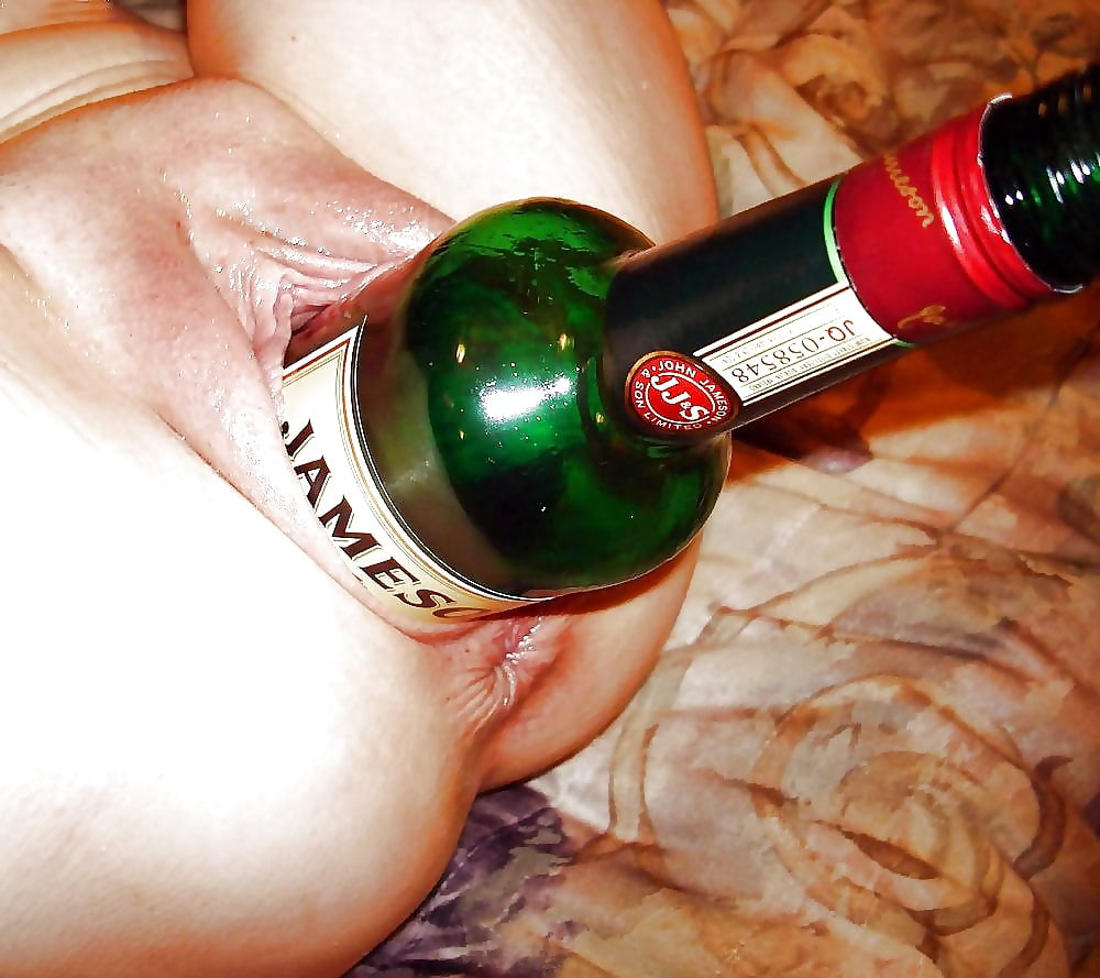 Wine bottle with naked girl actress