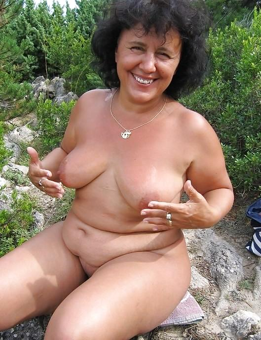 Nude older women outdoors
