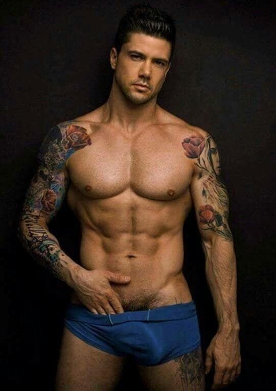 Tattooed Man With Big Uncut Dick