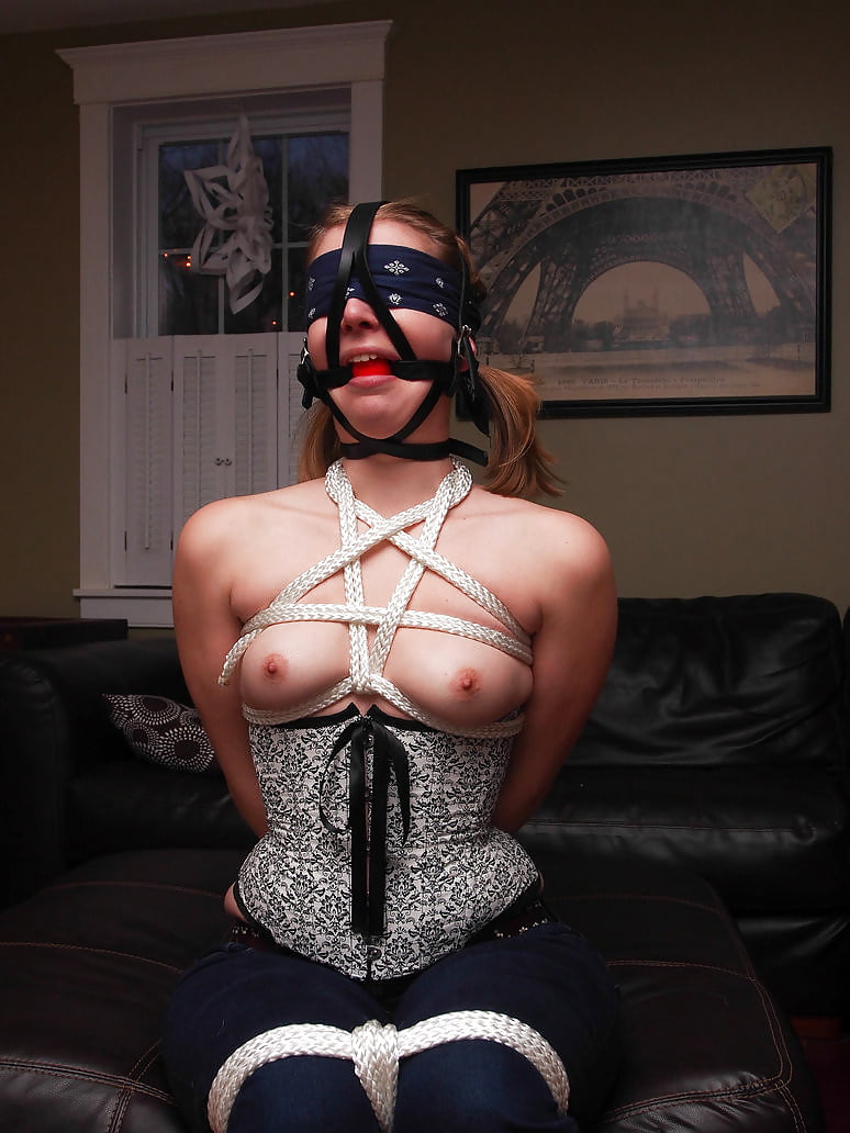 Dribbling with a gag in bondage, men getting there cocks sucked