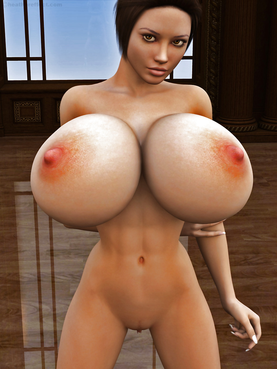 Computer animated big boobs video #2