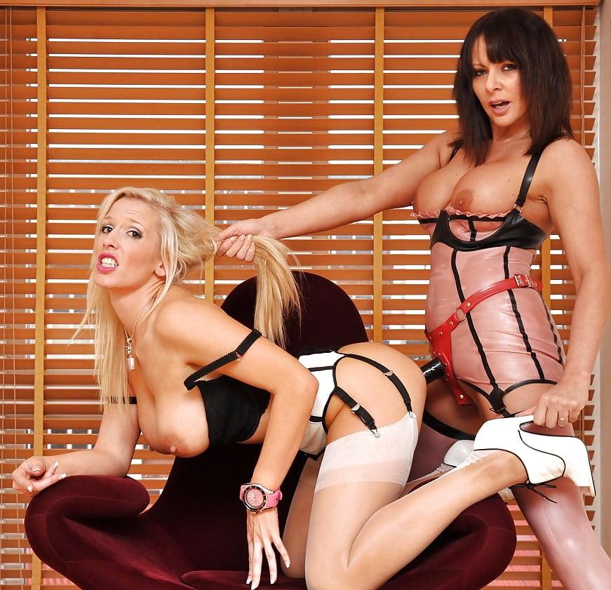 Lesbian milf strap stockings
