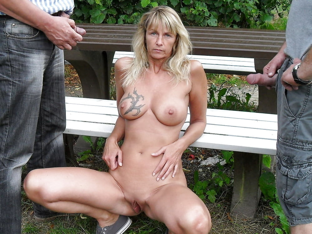 Mature outdoor stroking