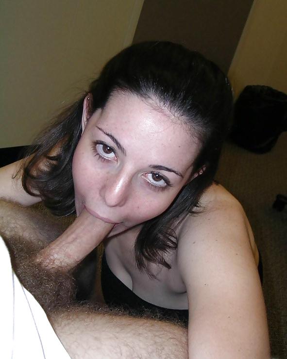 Fellatio loving brunette sucks cock