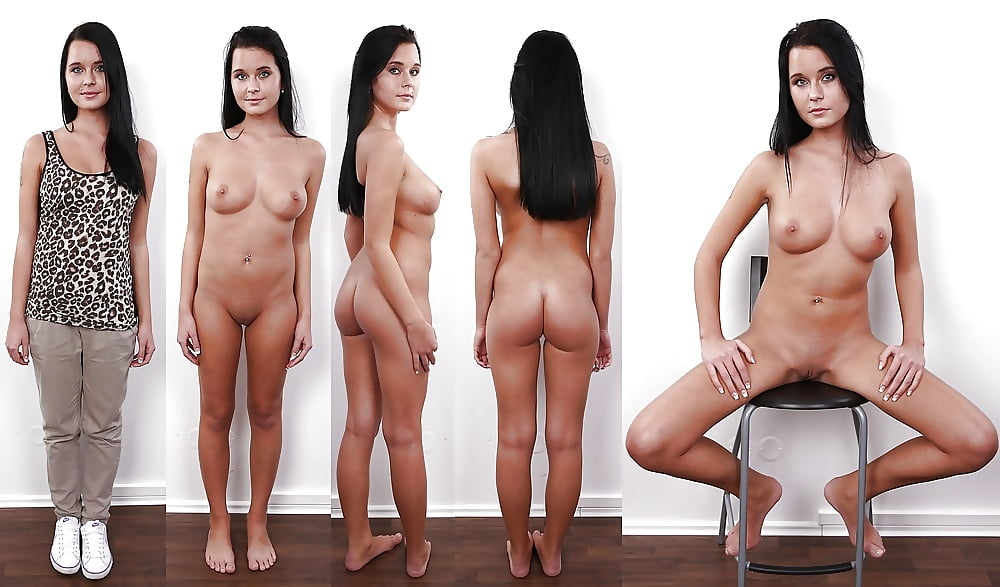 Gal undresses for porn photography session