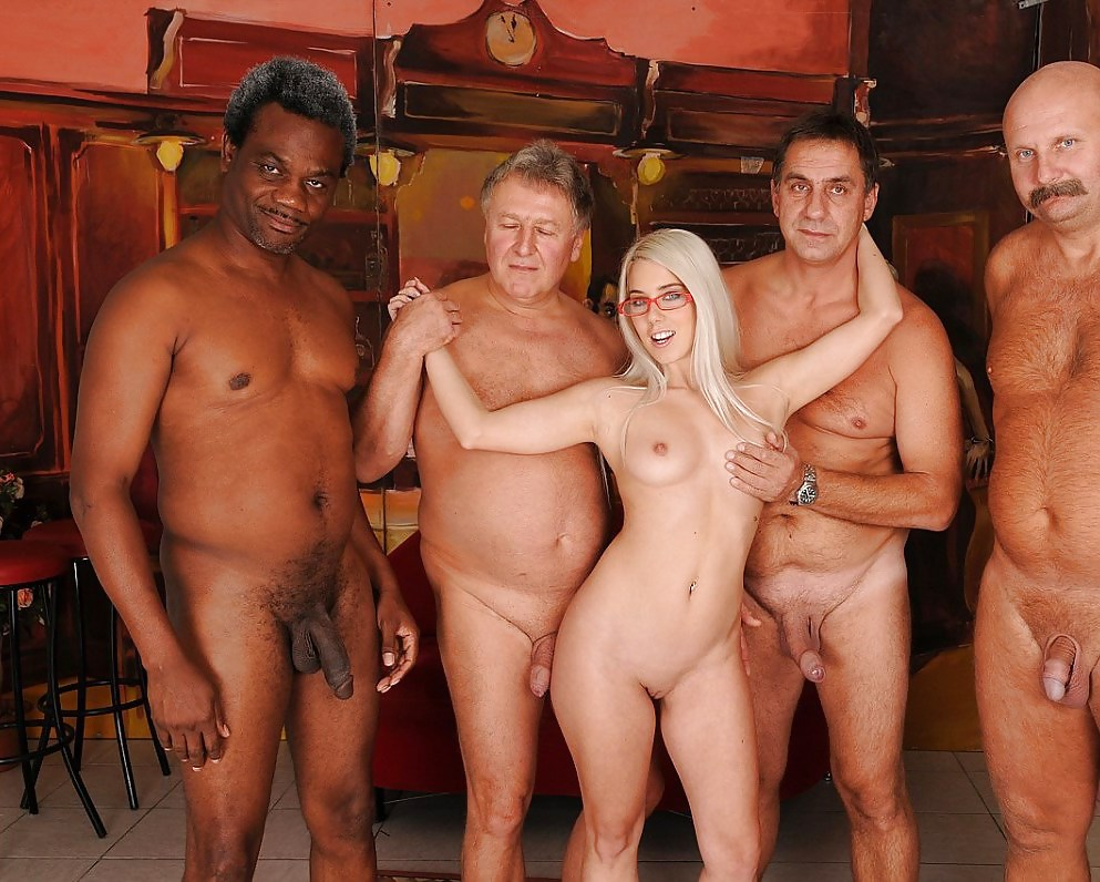 Naked old men with women