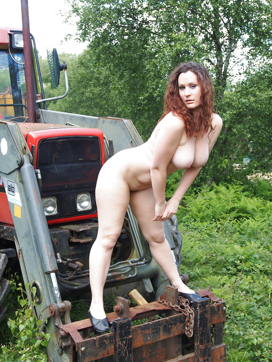Naked milf on the farm