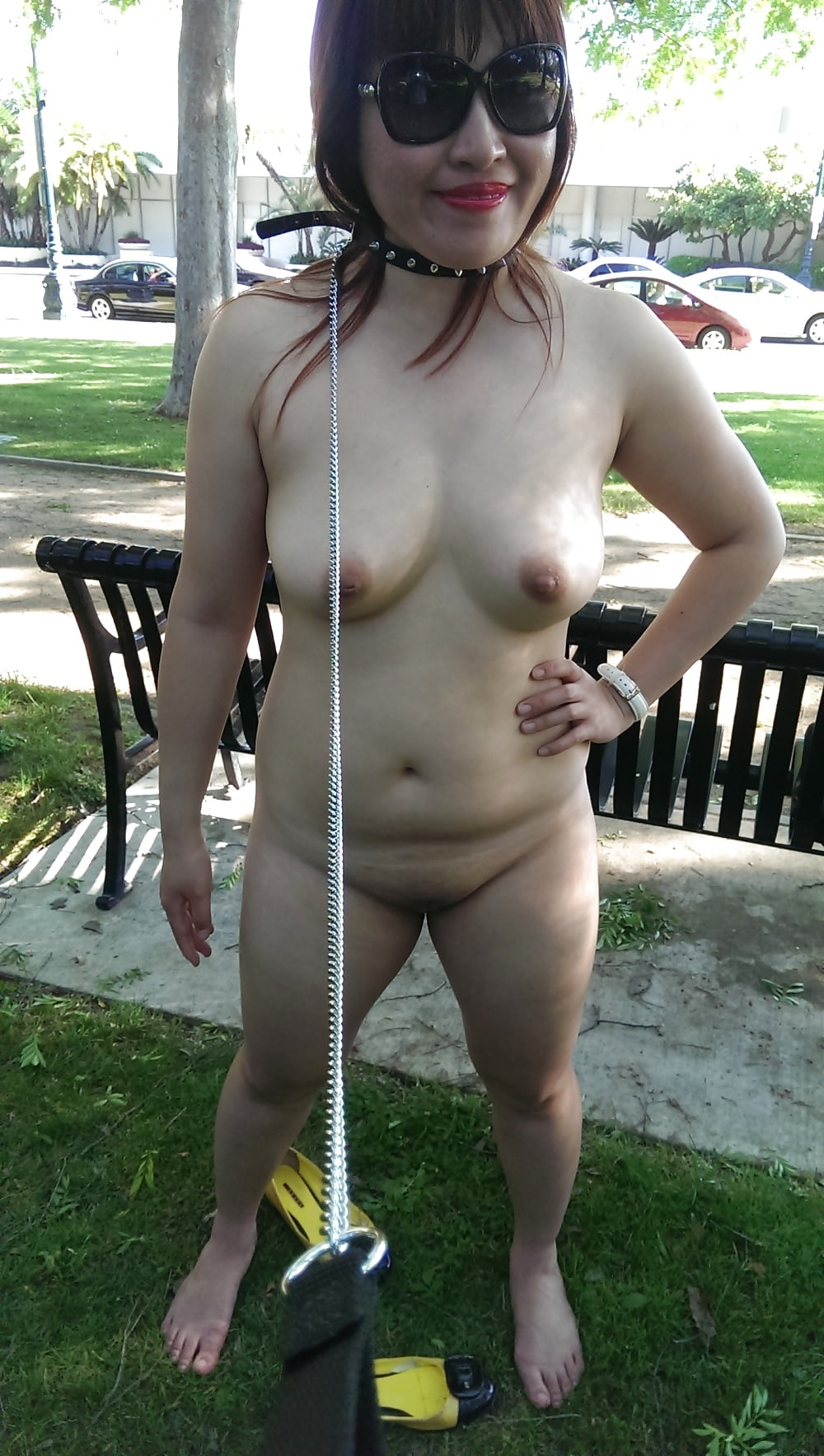 My wife naked in public
