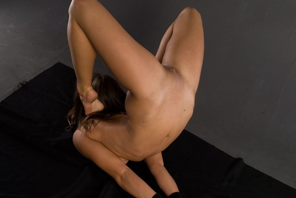 Flexible girl in nude contortion poses
