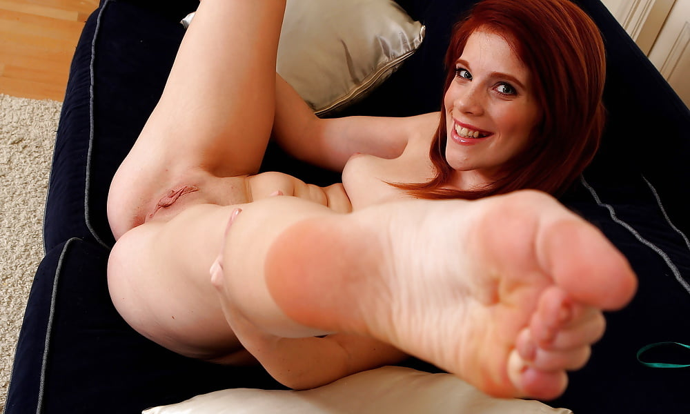 Natural Redhead Violla A Slips Off Sexy Lingerie For Nude Posing On Couch