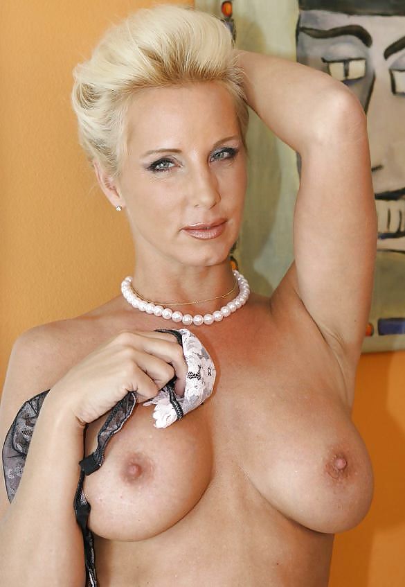 Short Haired Blonde Milf In Stockings
