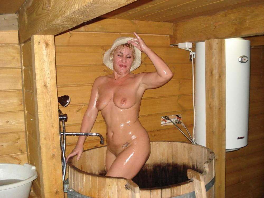 Sweaty granny in sauna