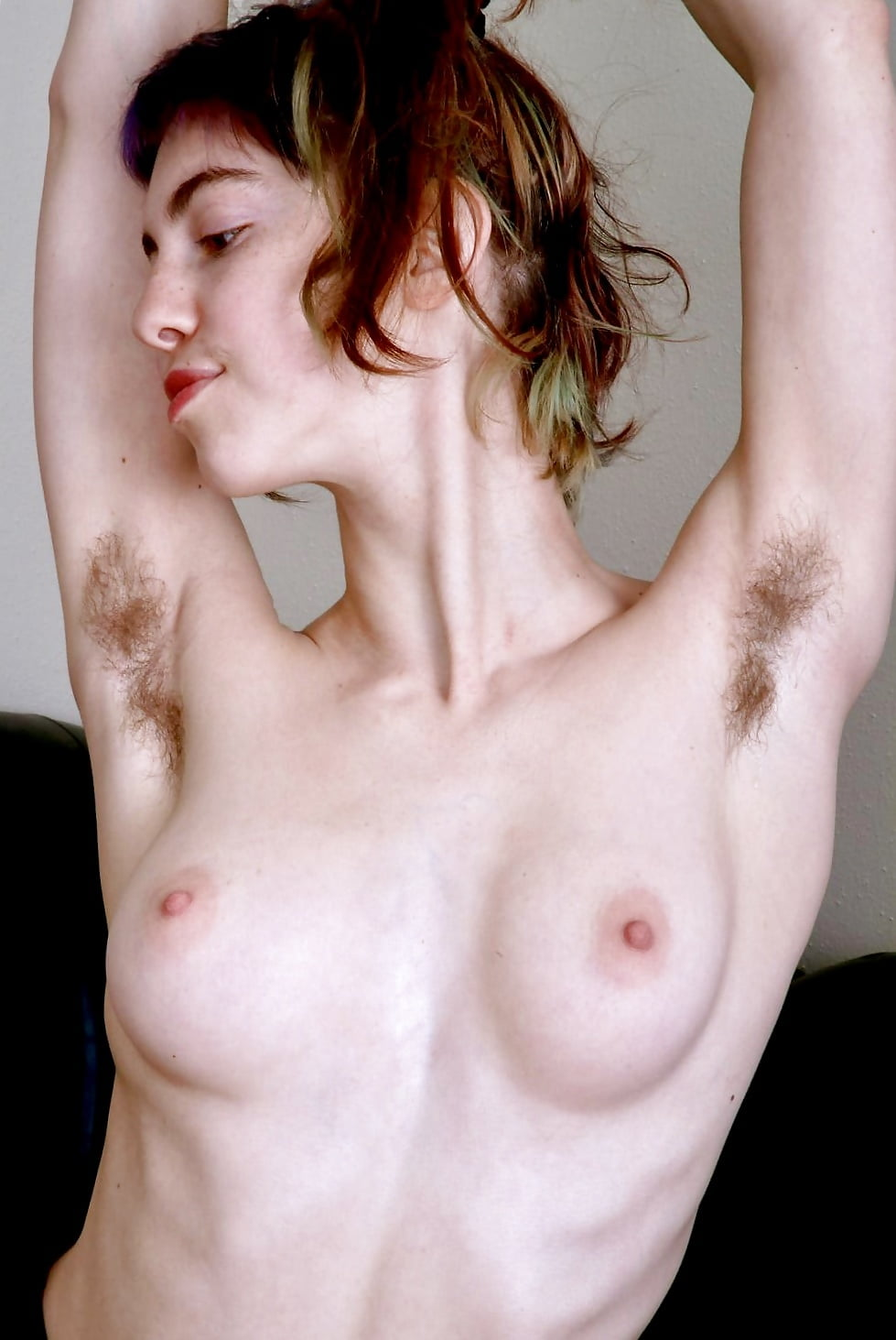 Hot naked girl with hairy armpits, sex with manager