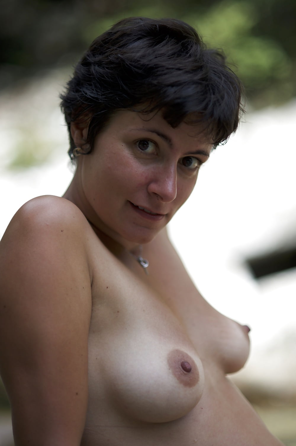 Busty short hair nude takes it — img 12