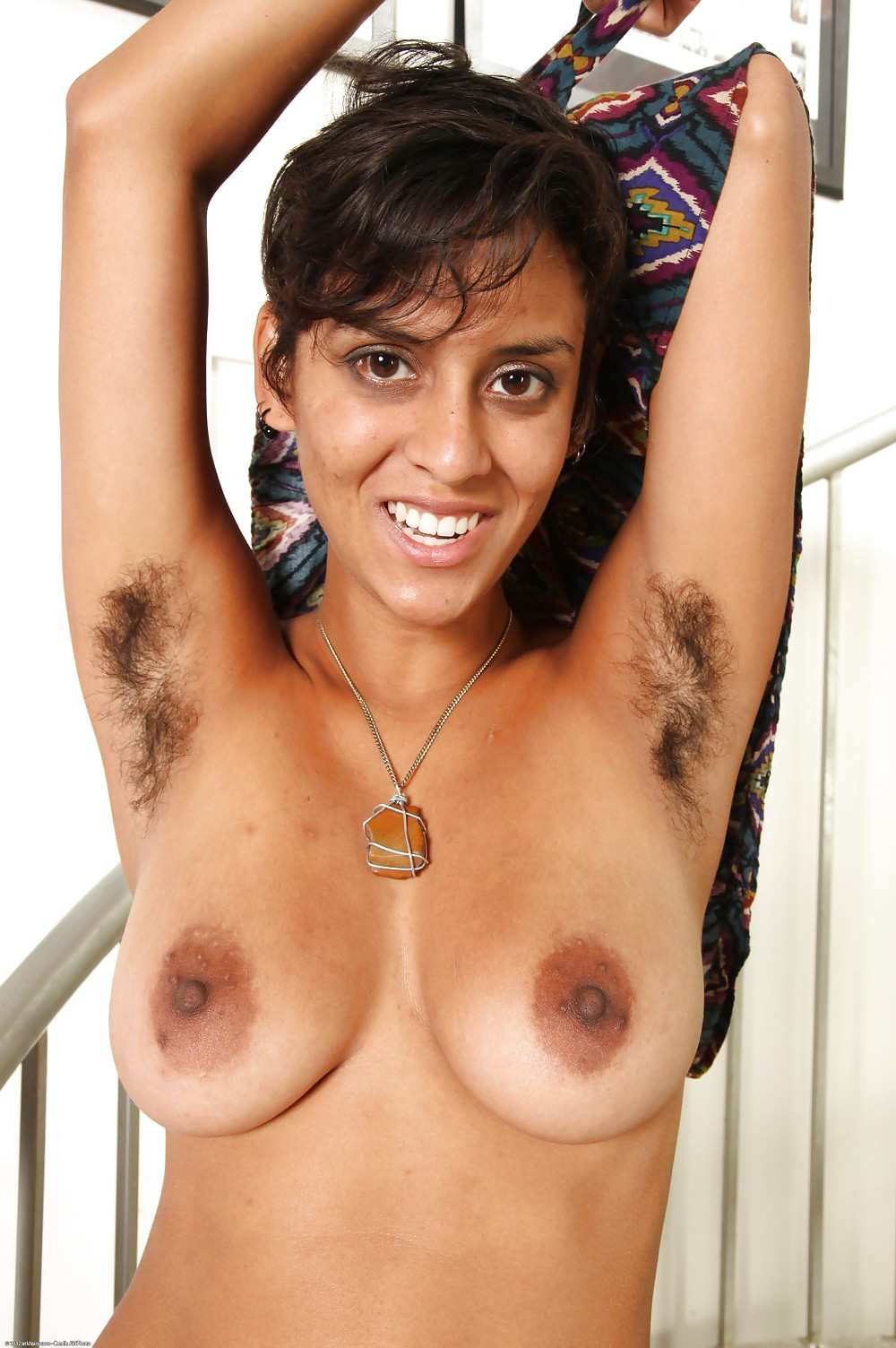 Naked girl with hairy armpits — 5