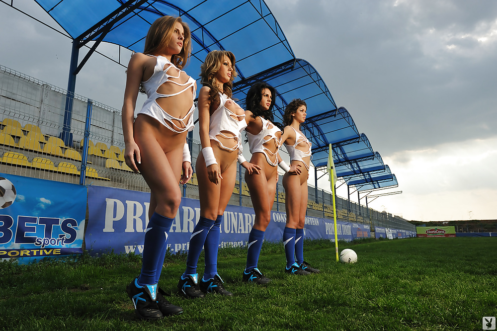 Girls naked play football #11